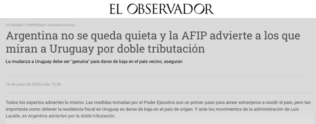 Nota El Observador Uruguay