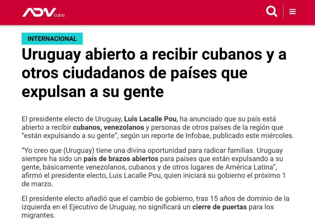 Uruguay abierto a recibir cubanos