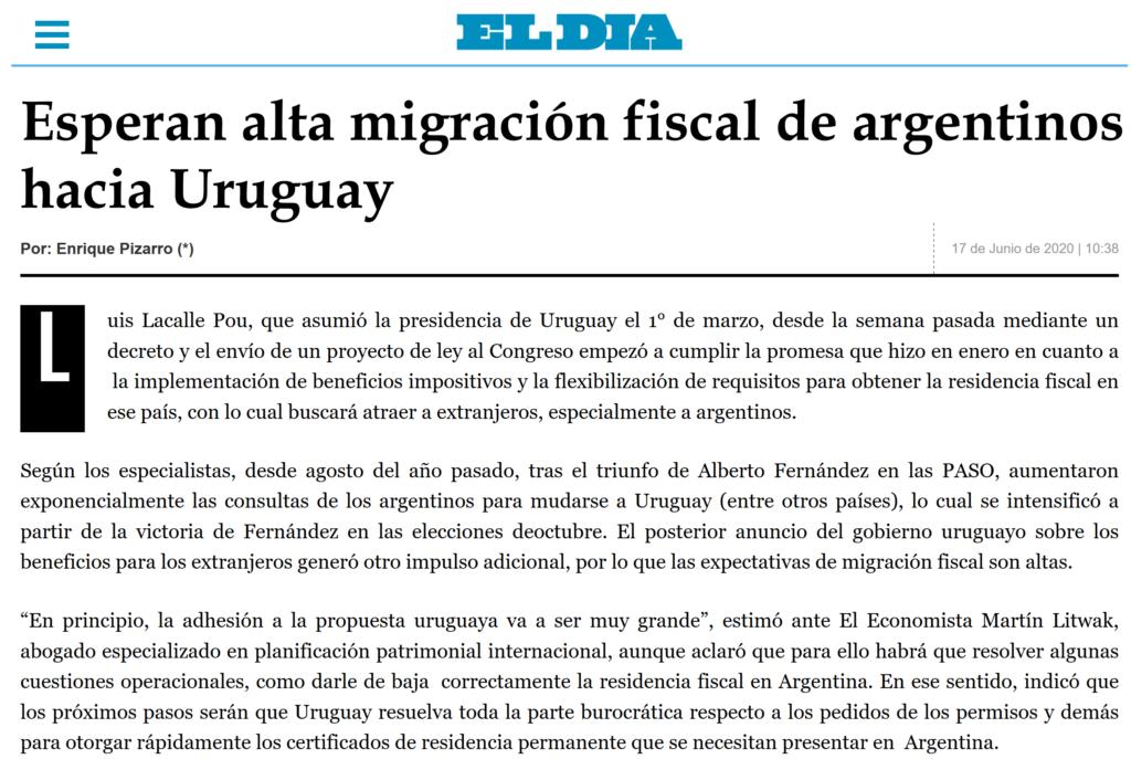 Nota El Dia La Plata, Argentina