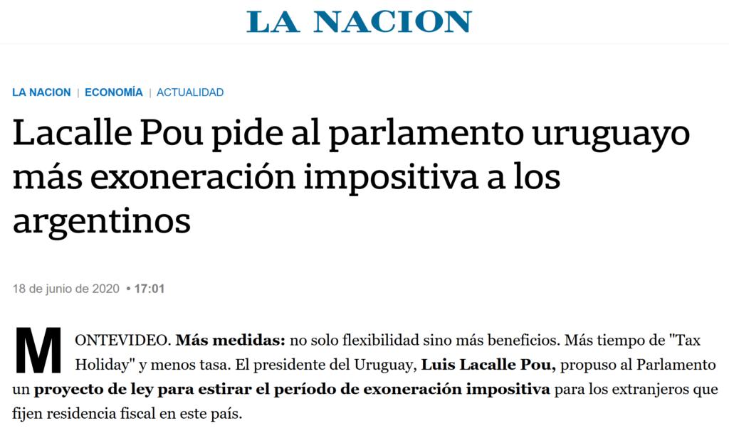 Lacalle Pou pide al parlamento uruguayo más exoneración