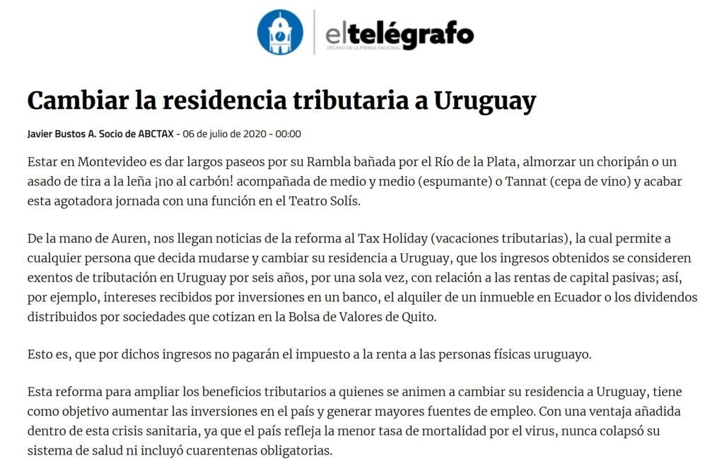 Cambiar la residencia tributaria a Uruguay Javier Bustos A. Socio de ABCTAX - 06 de julio de 2020